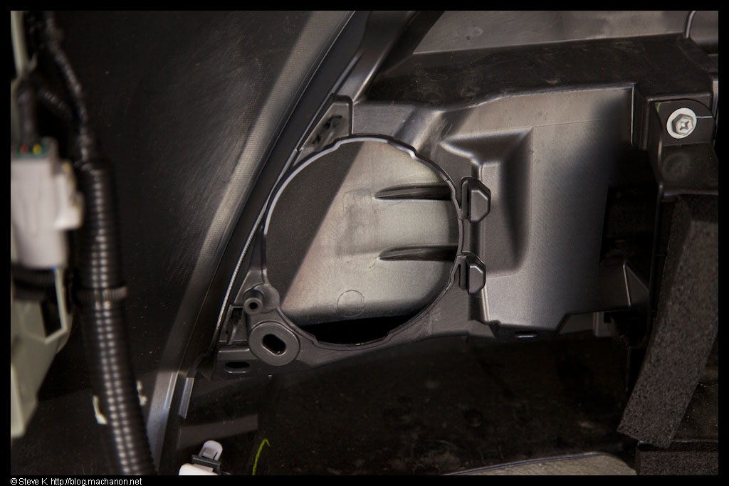 OEM fog light mounting holes visible from behind a 2012+ Toyota Prius bumper