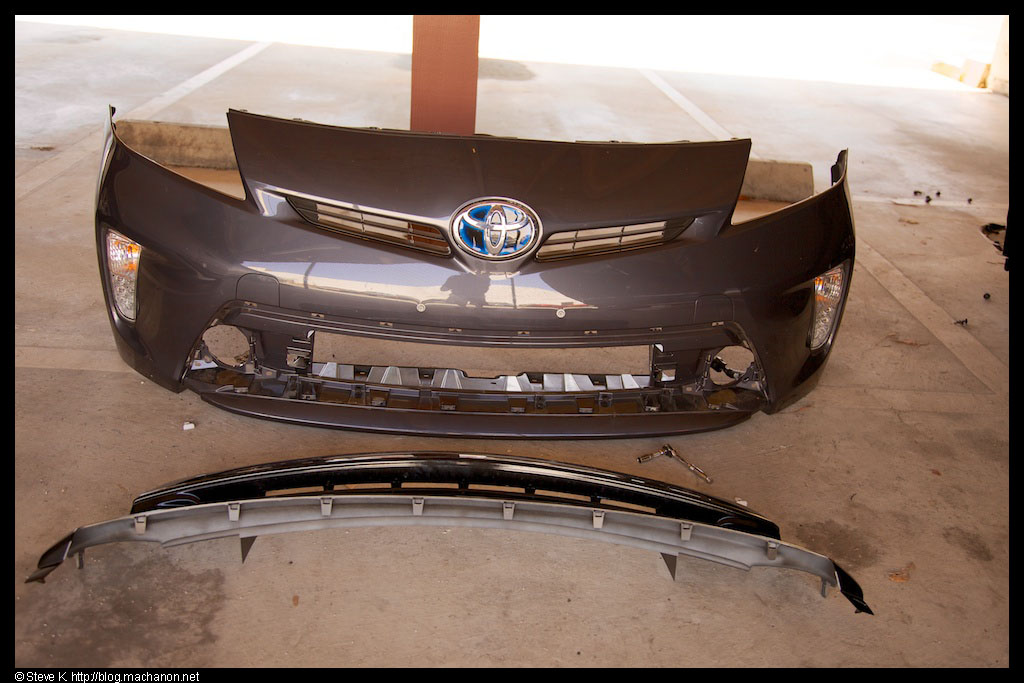 Stock grille removed and set aside from a 2012 non-Five model Toyota Prius