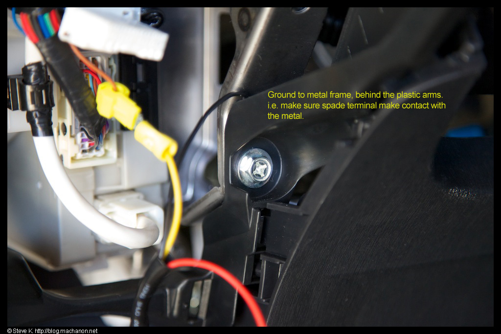 Attach the yellow wire to the brown ECU wire and ground the black wire