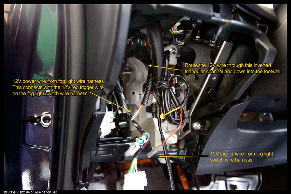Route the 12v wire through the instrument panel junction box