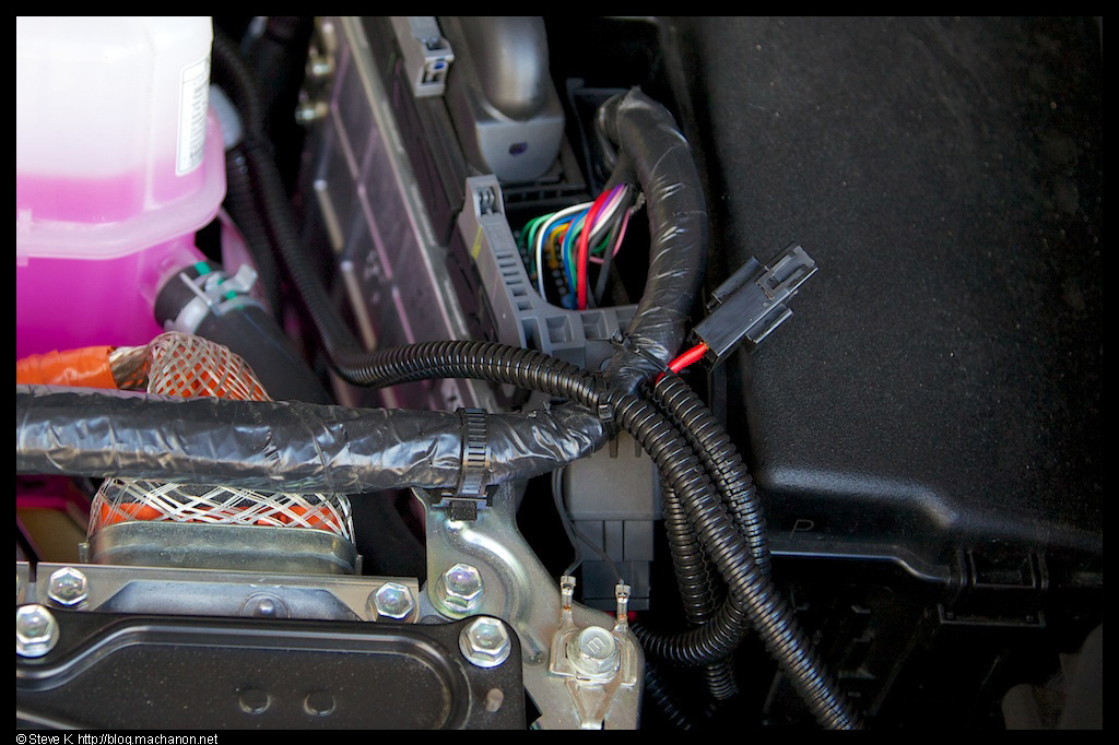 Fog light wires all loomed and organized