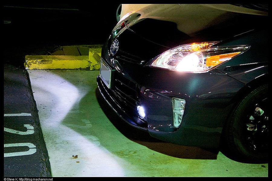 Close-up of Nokya projector LED fog light illumination