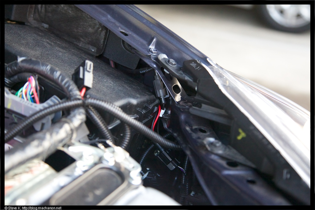 Connect the extension cable to the OEM headlight connector