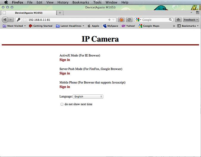 The IP Camera's web-based UI splash page