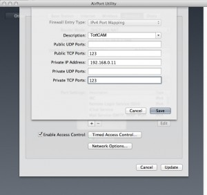 Port forwarding your IP Camera on an Apple AirPort device