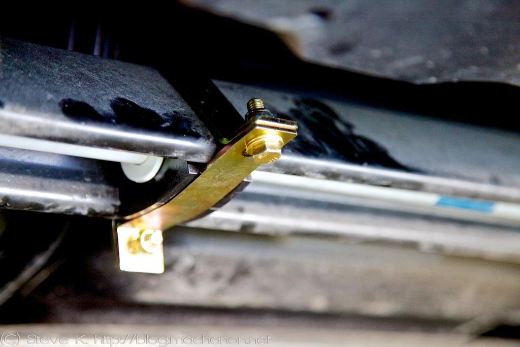 Prius PLUS rear sway bar lower bushing clamp mounted