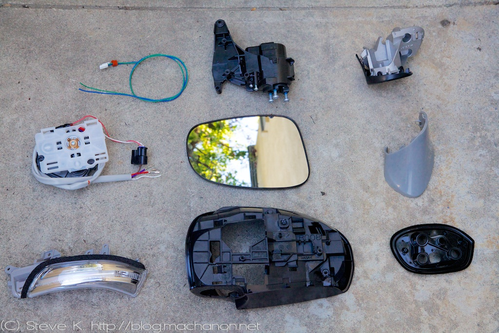 3rd gen Prius JDM power folding side mirrors DIY guide: JDM Toyota Wish mirrors fully disassembled