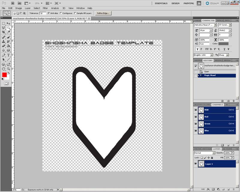 Creating a custom JDM shoshinsha style flag badge from Photoshop