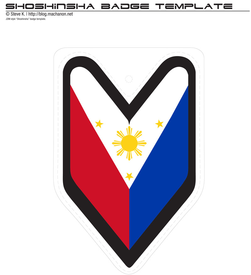 JDM shoshinsha style Filipino flag badge created from template and ready for print