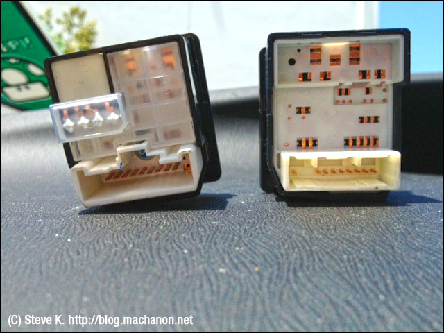 Back comparison: JDM mirror switch (left) vs. USDM mirror switch (right)