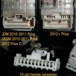 USDM/JDM 2010-2011 Prius, 2012 Prius C vs. 2012+ Prius mirror control switch