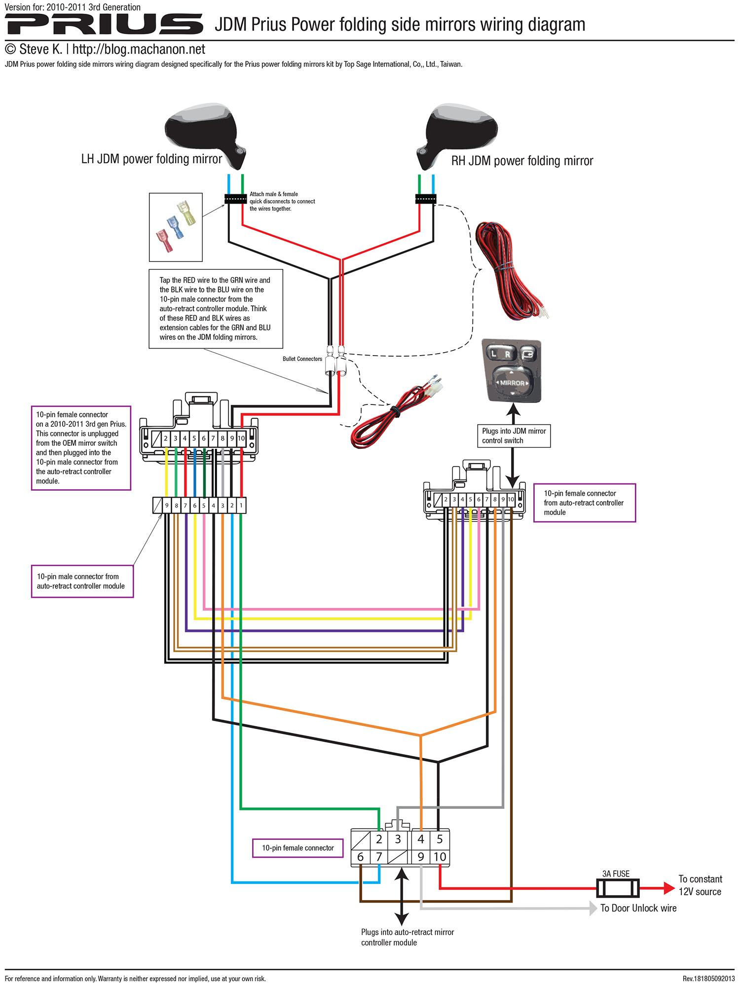 2010-2011 3rd gen Prius JDM power folding side mirror wiring diagram (using kit by Top Sage International, Co., Ltd.)
