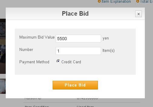 Placing a bid on Buyee