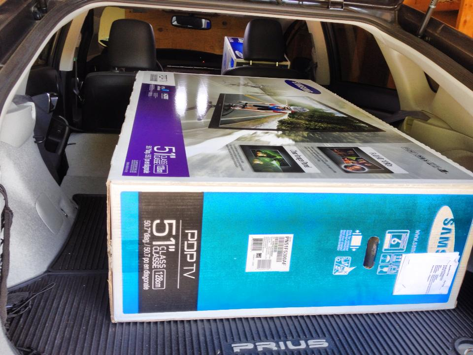 "Cargo capacity of 3rd gen Prius; new-in-box 51"" plasma HDTV"