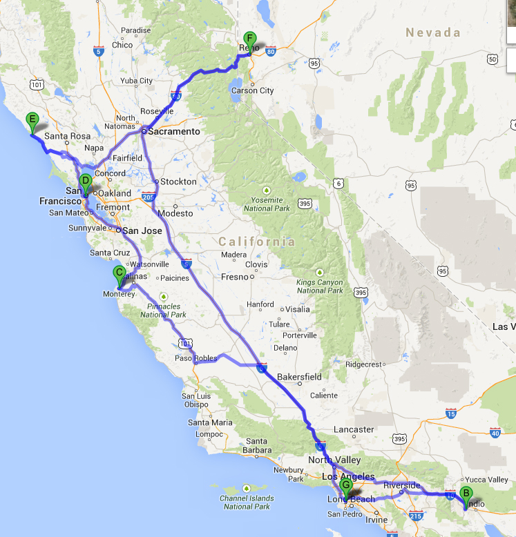 Summer 2013 road trip route