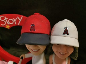 Close up of the Los Angeles Angels ball caps