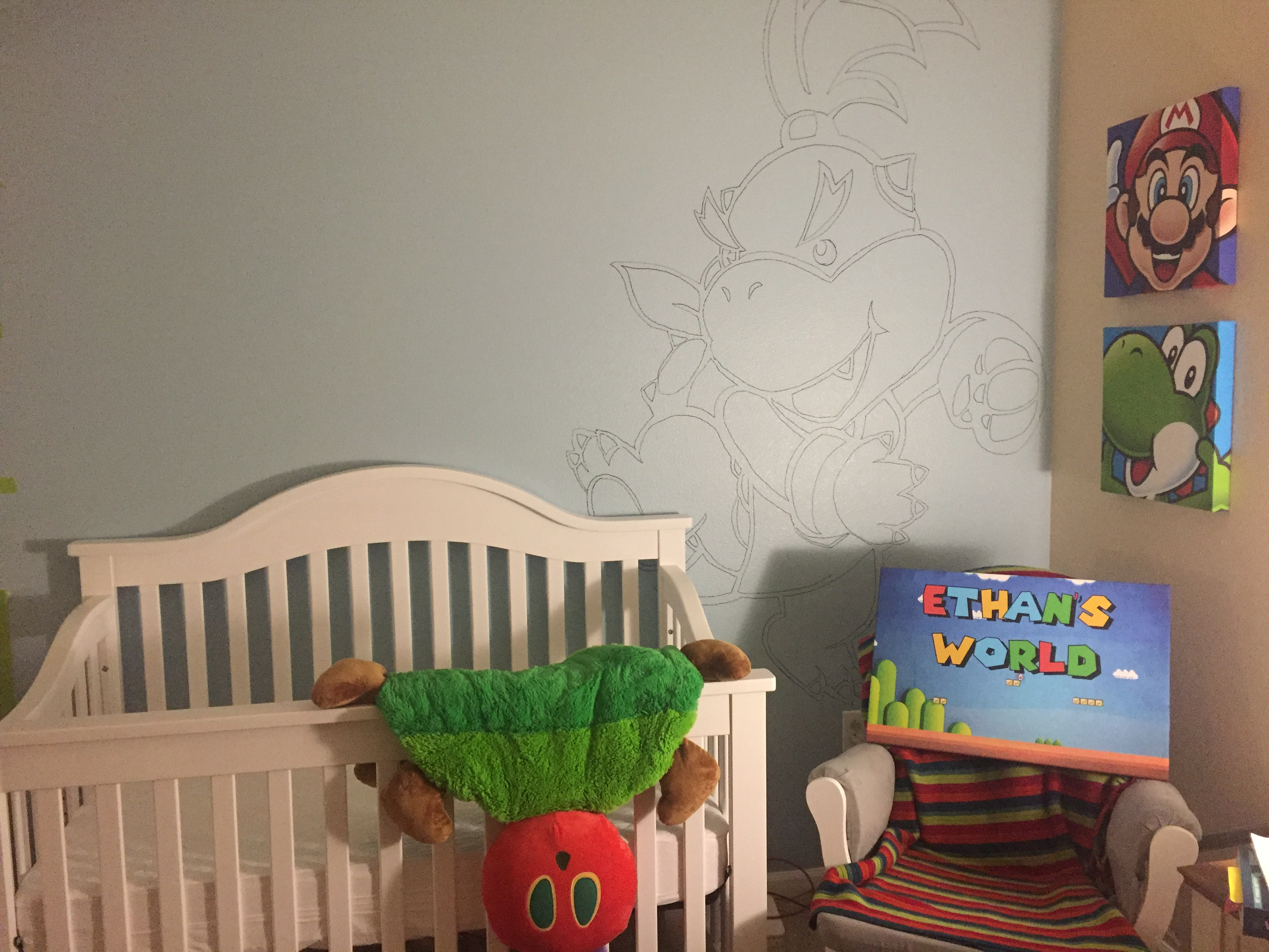 Painting a mural in our baby 39 s nursery part 1 outlining for Best projector for mural painting