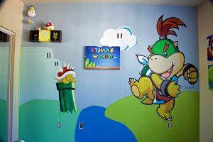 Nintendo themed baby nursery mural featuring Bowser Jr.