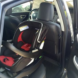 RECARO Performance Coupe infant seat installed in a 3rd gen 2012 Prius Four lift back.