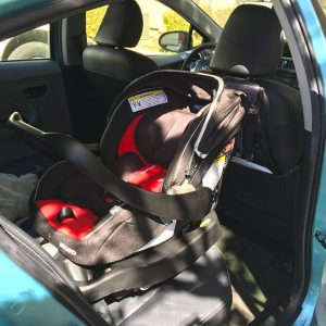 Recaro Performance Coupe infant car seat installed in a 2012 Prius c 4