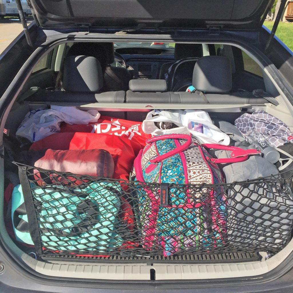 How the 2012 Prius Four liftback's cargo look like when we go on road trips with our infant.