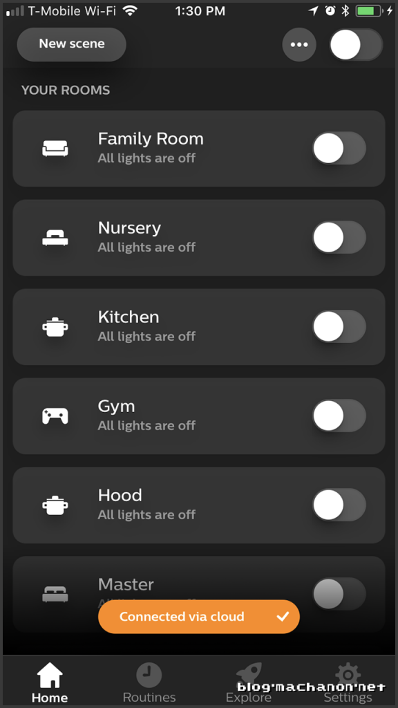 Philips Hue app in cloud control mode.