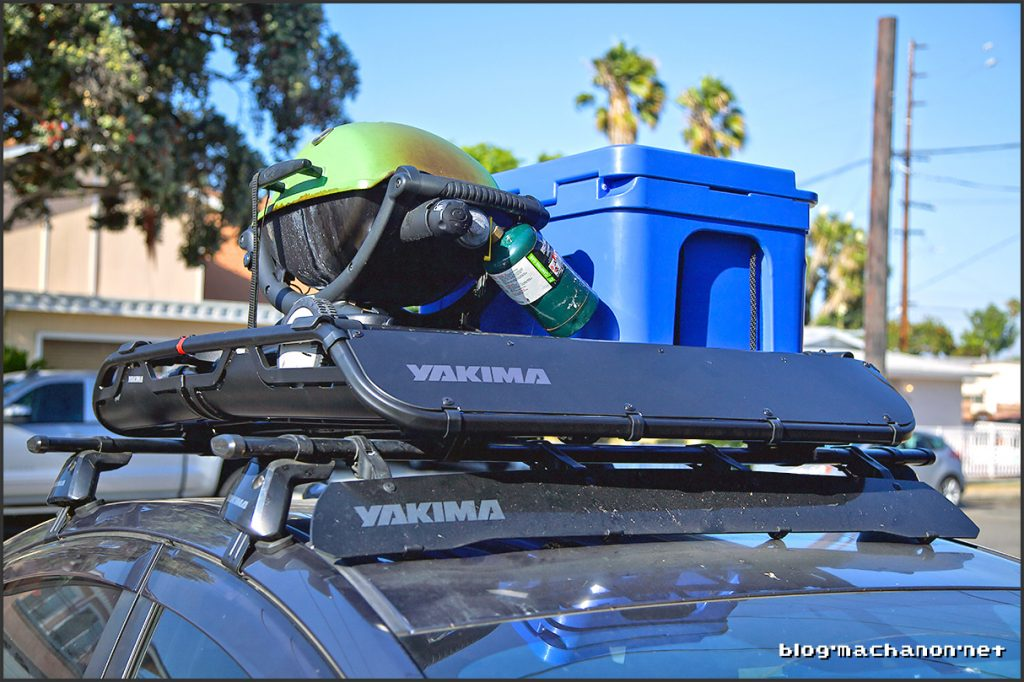Loaded Yakima OffGrid rooftop cargo basket
